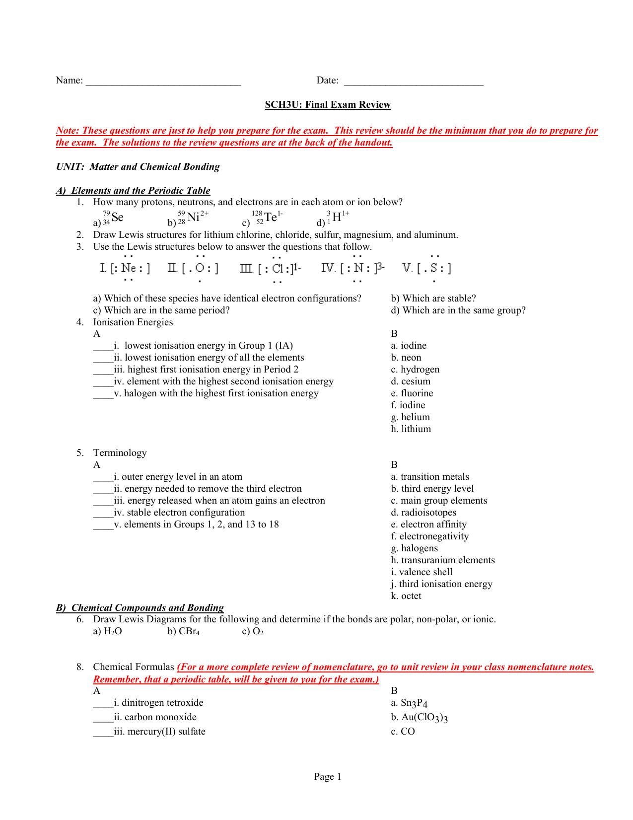 SCH3U: Final Exam Review