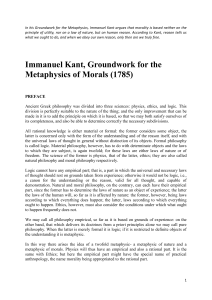 Immanuel Kant-Groundwork for the Metaphysics of Morals