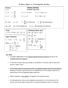 AP Physics Chapter 11-12 Key Equations and Ideas Rotation s = qr
