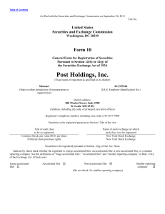 Post Holdings, Inc. Common Stock - corporate