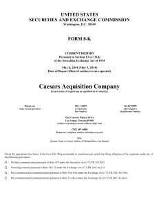 Caesars Acquisition Co (Form: 8-K, Received: 05/06