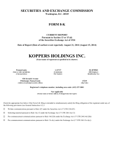 Koppers Holdings Inc. (Form: 8-K, Received: 08/21