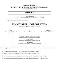 TimkenSteel Corp (Form: 8-K, Received: 01/08/2016