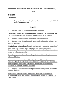 proposed amendments to the geoscience amendment bill