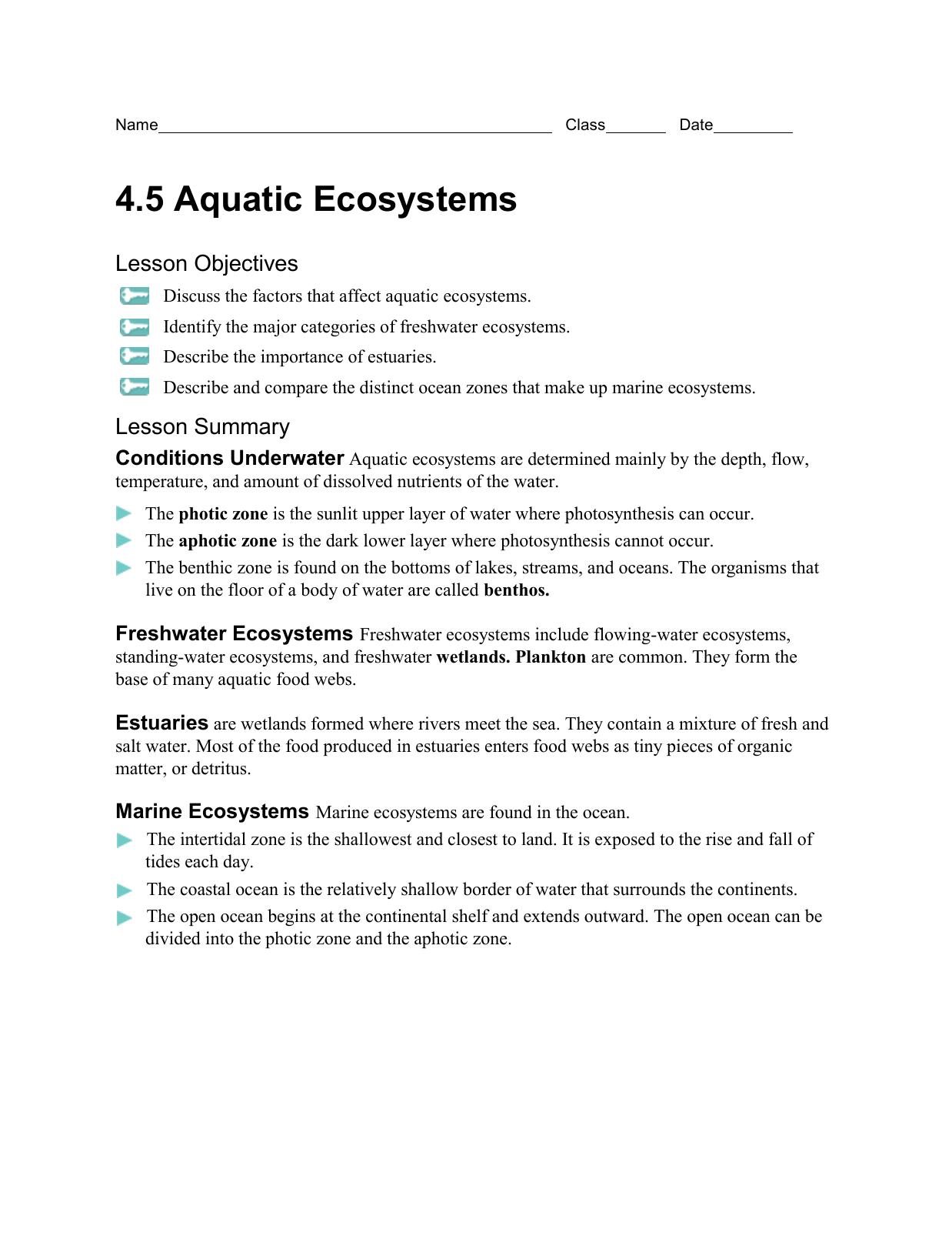4.5 Aquatic Ecosystems