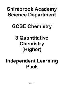 3 Quantitative Chemistry Higher IL Pack