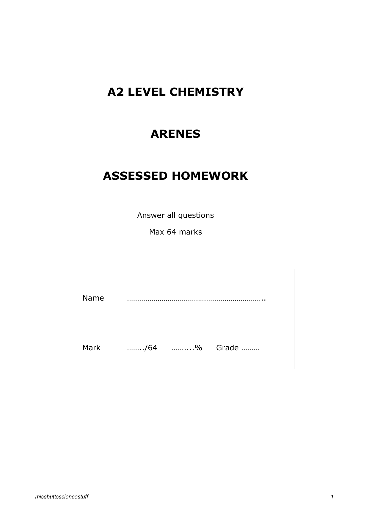 a2 level chemistry 4.1.1 arenes assessed homework
