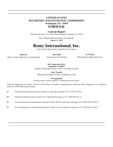 Remy International, Inc. - corporate