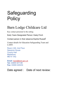 New Safeguarding policy 2016