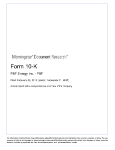 pbf energy inc. - Morningstar Document Research