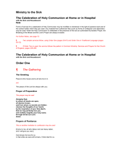 The Celebration of Holy Communion at Home or in Hospital