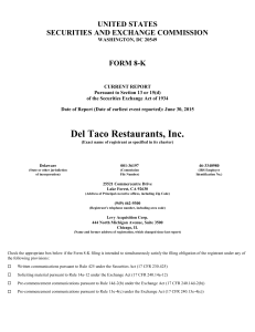 Del Taco Restaurants, Inc. (Form: 8-K, Received: 07