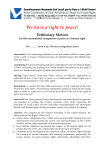 for the international recognition of peace as a human right