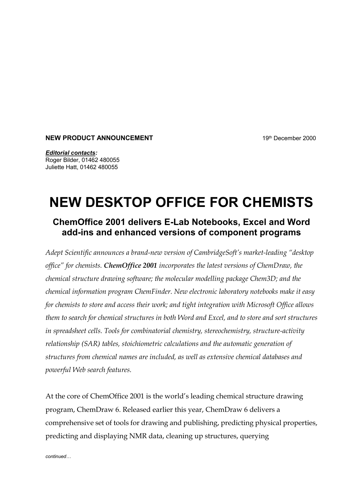new desktop office for chemists