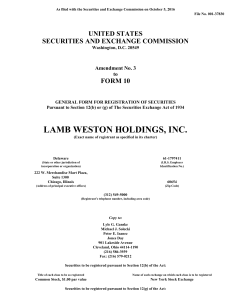 Lamb Weston Holdings, Inc. (Form: 10-12B/A, Received