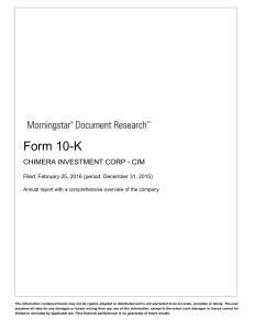 chimera investment corporation - Morningstar Document Research