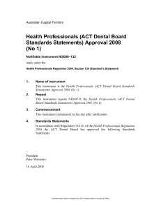 Health Professionals (ACT Dental Board
