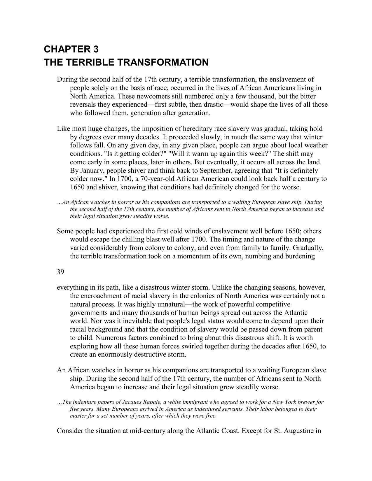 terrible transformation quizlet