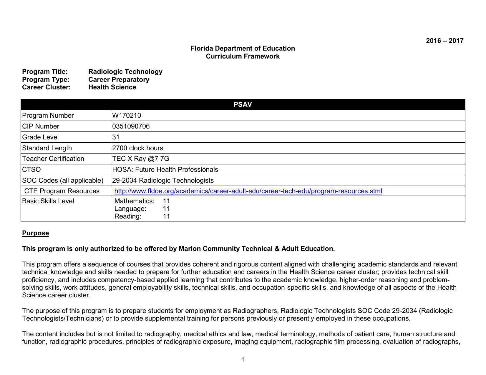 Radiologic Technology (W170210) - Florida Department Of