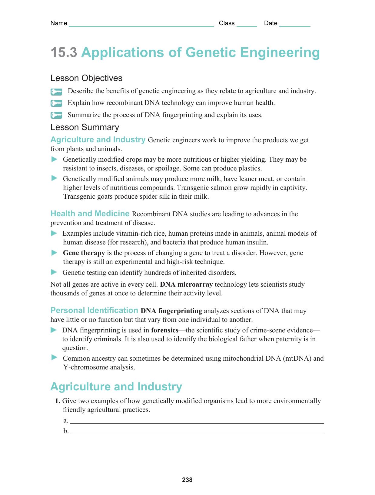 Worksheet 15.3 Applications of Genetic Engineering
