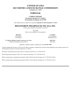 REGENERON PHARMACEUTICALS INC (Form: 8