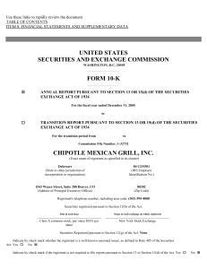CHIPOTLE MEXICAN GRILL INC (Form: 10-K