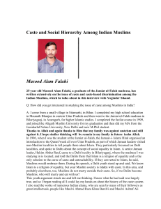 Caste and Social Hierarchy Among Indian Muslims Masood Alam