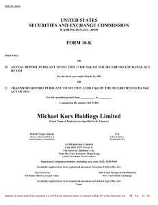 Michael Kors Holdings Ltd (Form: 10-K, Received
