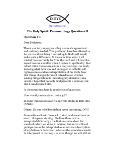 The Holy Spirit: Pneumatology Questions II