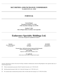 ENDURANCE SPECIALTY HOLDINGS LTD (Form: 8