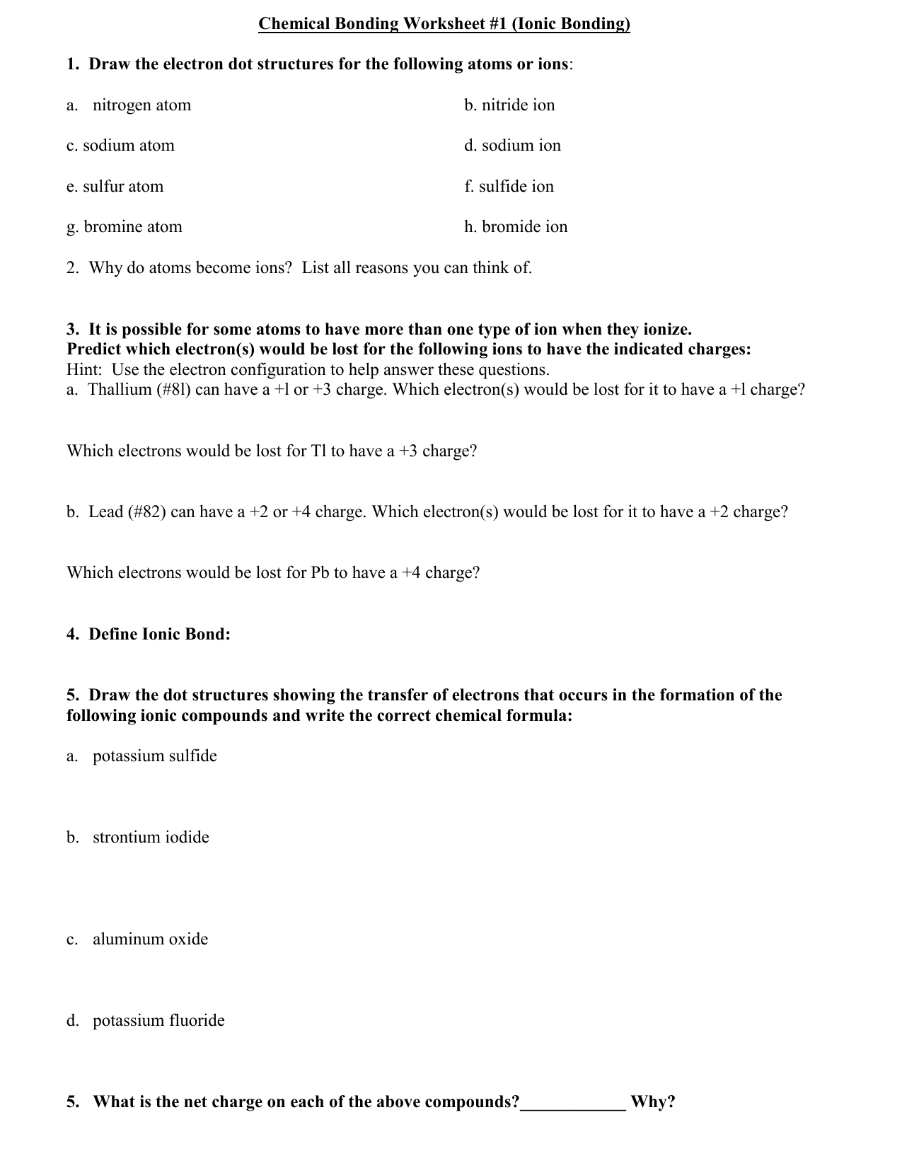 Chemical Bonding Worksheet 1 Ionic Bonding – Ions Worksheet