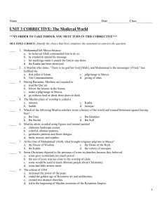 UNIT 3 CORRECTIVE: The Medieval World