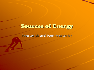 Sources of Energy - Primary Resources