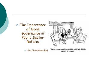 Importance of Good Governance in Public Sector Reform
