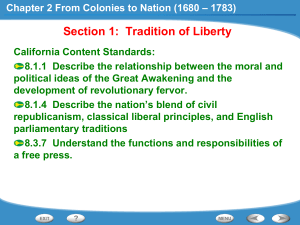 Chapter 2 From Colonies to Nation (1680 – 1783)