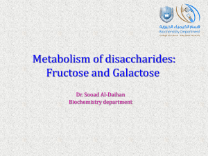 Metabolism of disaccharides: Fructose and Galactose