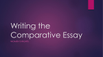 Writing the Comparative Essay