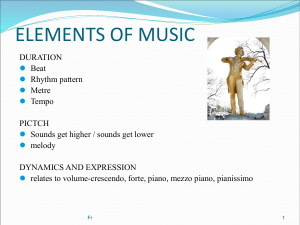 2. Elements of Music - Expectations