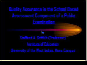 THE ALTERNATIVE PAPER TO SCHOOL BASED ASSESSMENT
