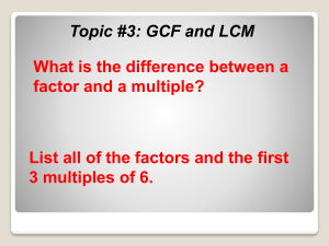 GCF and LCM Topic 3