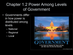 Chapter 1.1 Power Among Levels of Government