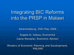 Integration of BID Reforms into PRSP in Malawi