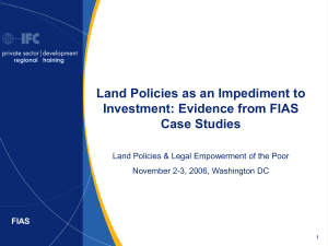 Land Policies as an Impediment to Investment