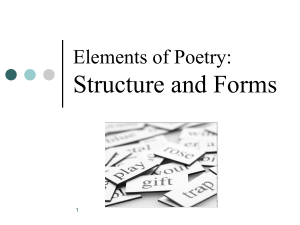 Elements of Poetry Structure and Form ppt