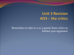 Unit 3 Revision – critical opinions Rapture and