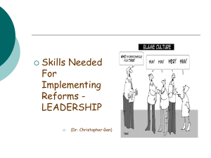 Skill Needed for Implementing Reforms