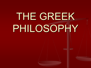 N 3. The philosophy of the Antique Greece