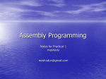 Assembly Programming - UWC Computer Science