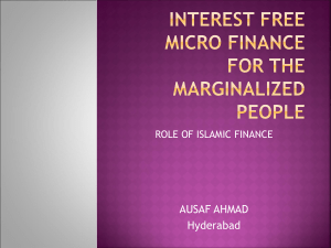 INTEREST FREE MICRO FINANCE FOR THE MARGINALIZED