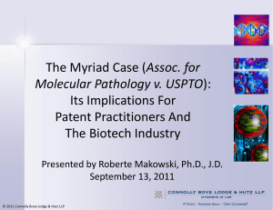 The Myriad case (Association for Molecular Pathology v